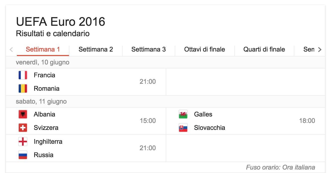 settimana 1 calendario europei di calcio 2016