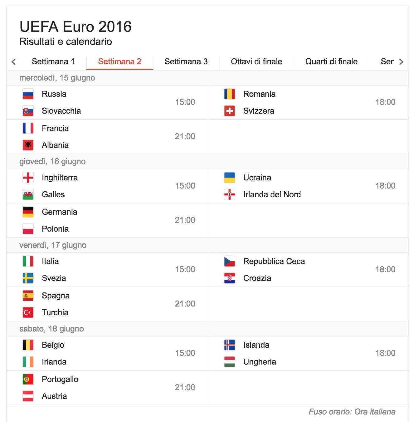 settimana 2 calendario partite europei di calcio 2016