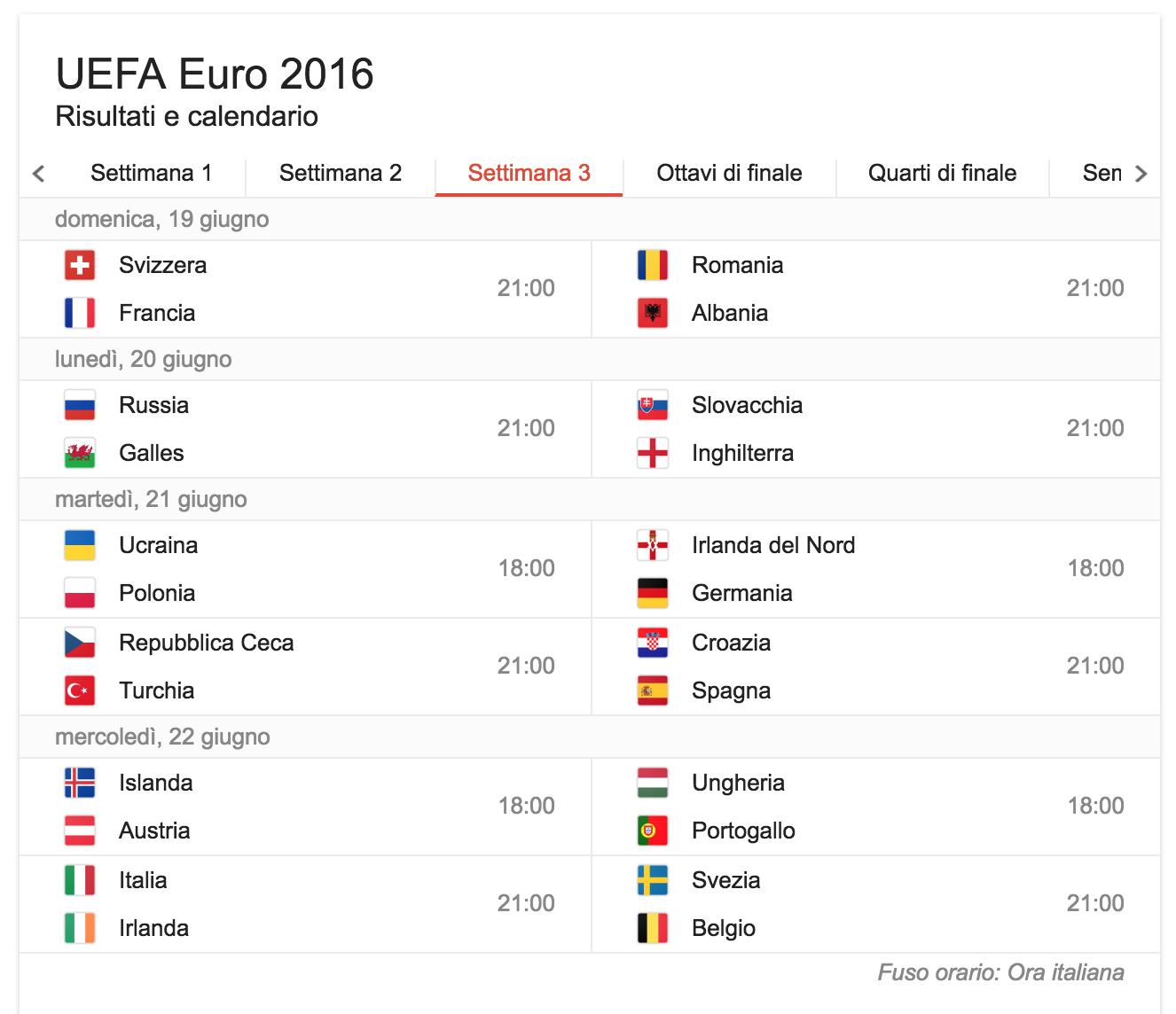 settimana 3 calendario partite europei di calcio 2016